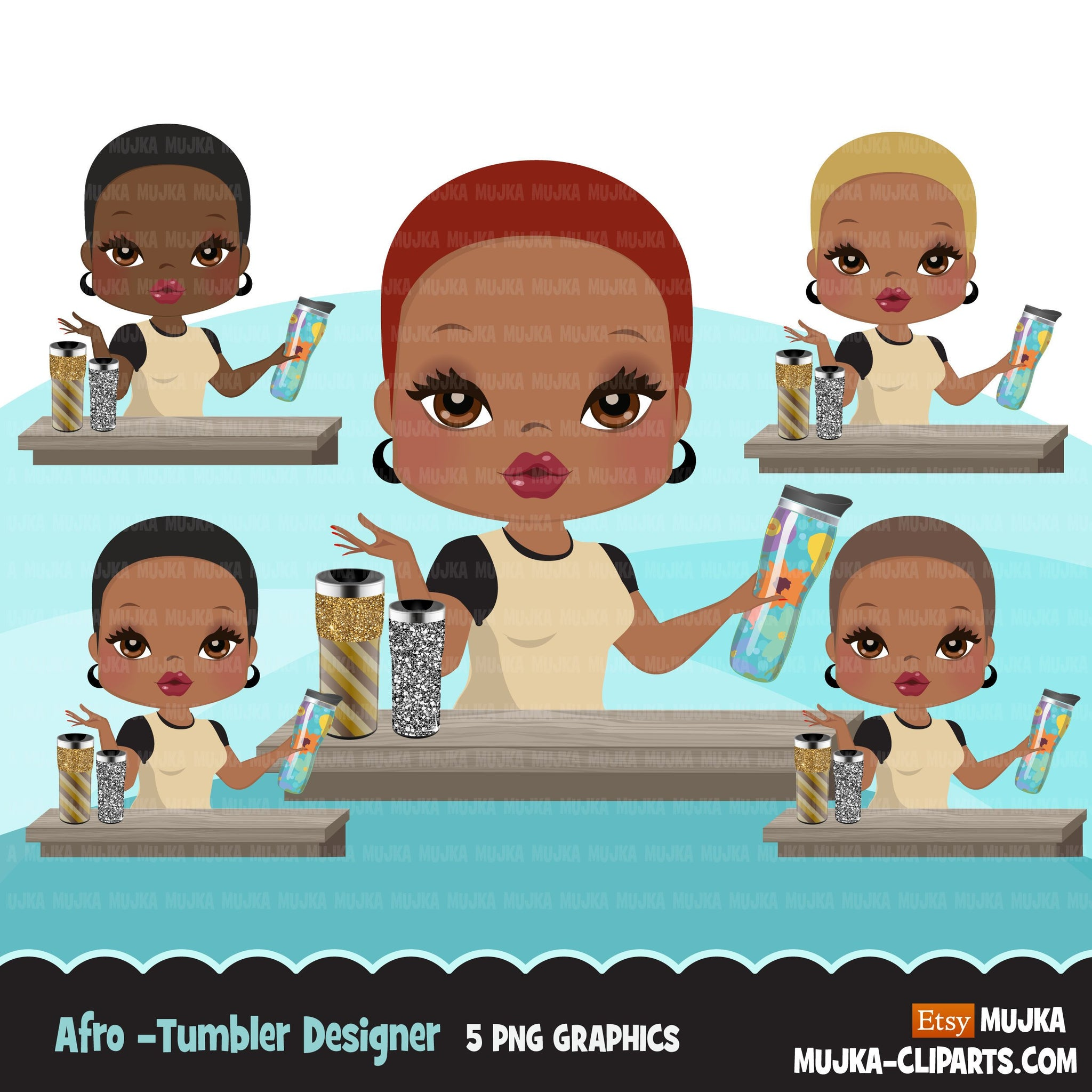 Afro Woman tumbler designer avatar clipart with glitter tumblers, print and cut, crafty maker boss black girl clip art