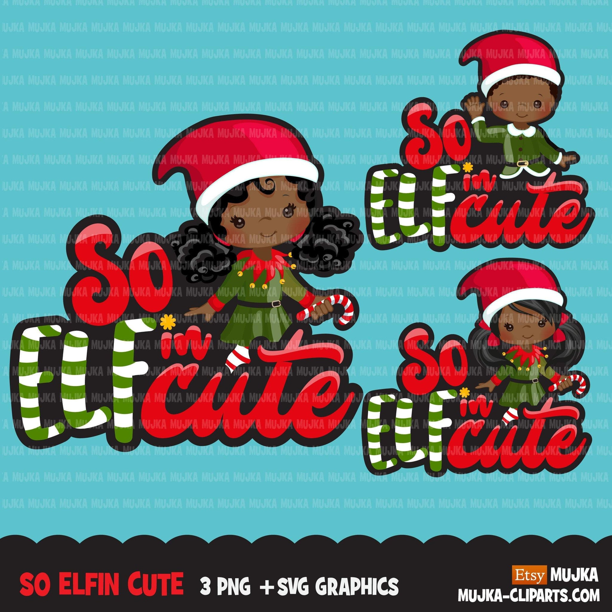 Christmas PNG digital, So Elfin Cute Printable HTV sublimation image transfer clipart, t-shirt Afro black girl graphics