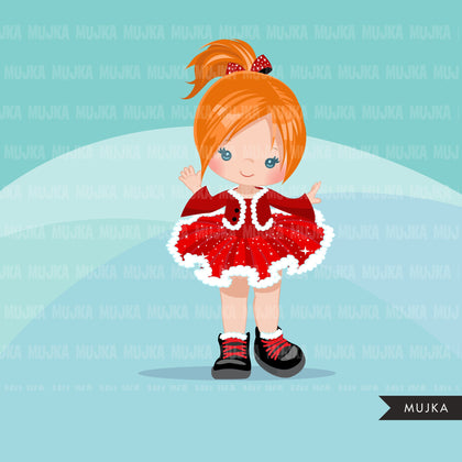 Christmas tutu clipart, Santa girls with tutu dress, commercial use graphics