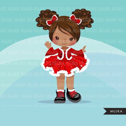Christmas tutu clipart, Santa Black girls with tutu dress, commercial use graphics, afro christmas clip art