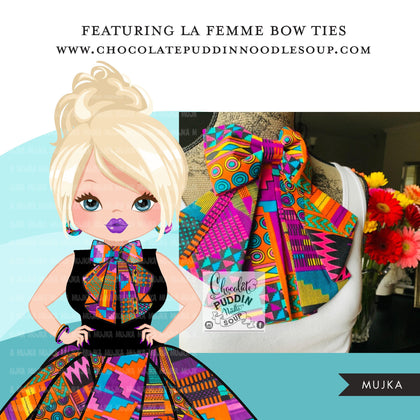 Woman clipart avatar, Ankara multi-color print bow tie and skirt, fashion graphics shop logo boss girl clip art print and cut PNG