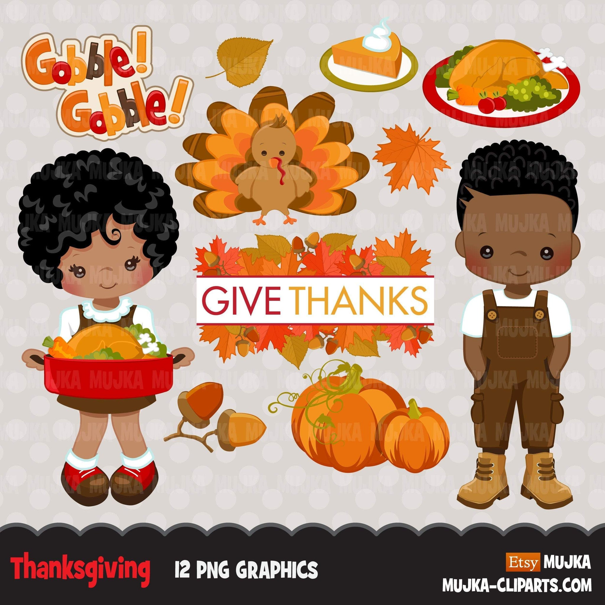 Thanksgiving Clipart, black afro thanksgiving graphics with gobble gobble Turkey and fall, boy and girl