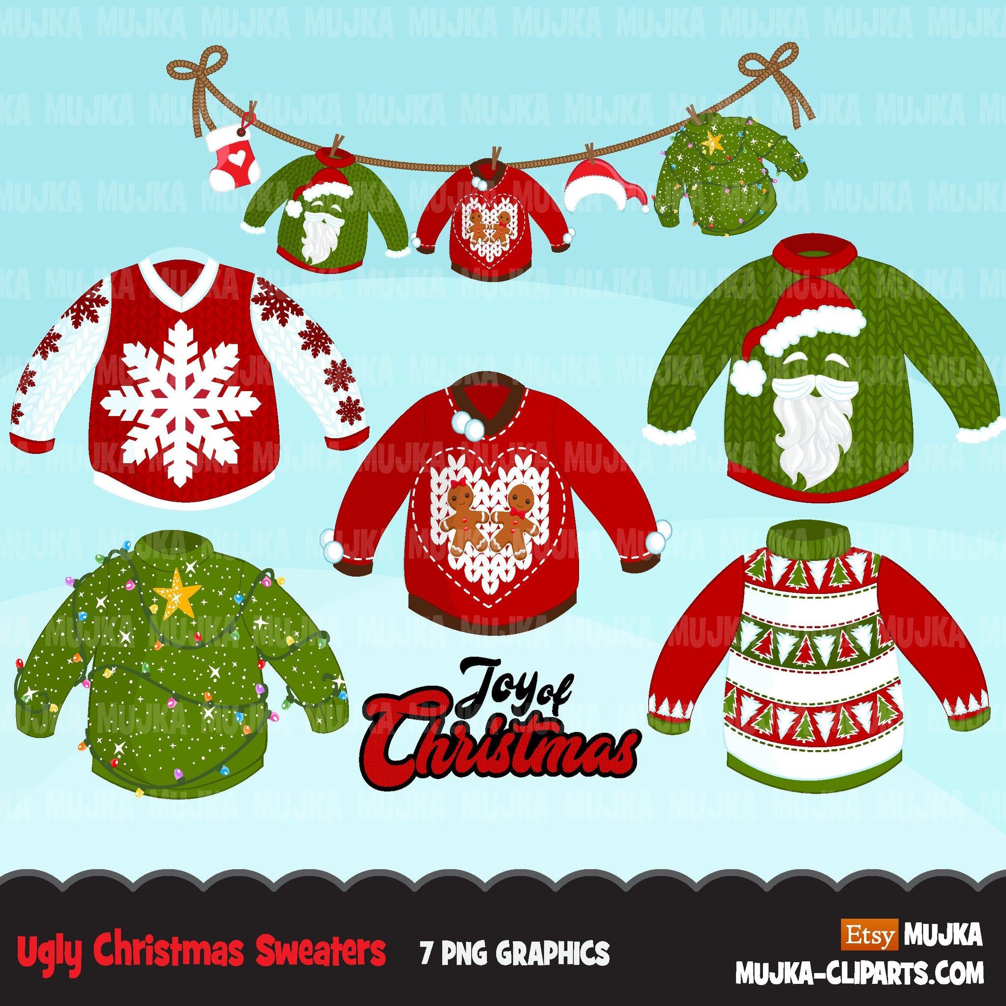 Ugly Christmas Sweaters Clipart, Joy of Chrismas clothesline , noel cardigan graphics