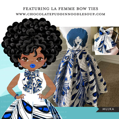Black woman clipart avatar, Ankara peacock print bow tie and skirt, fashion graphics shop logo sorority zeta boss afro girl clip art PNG