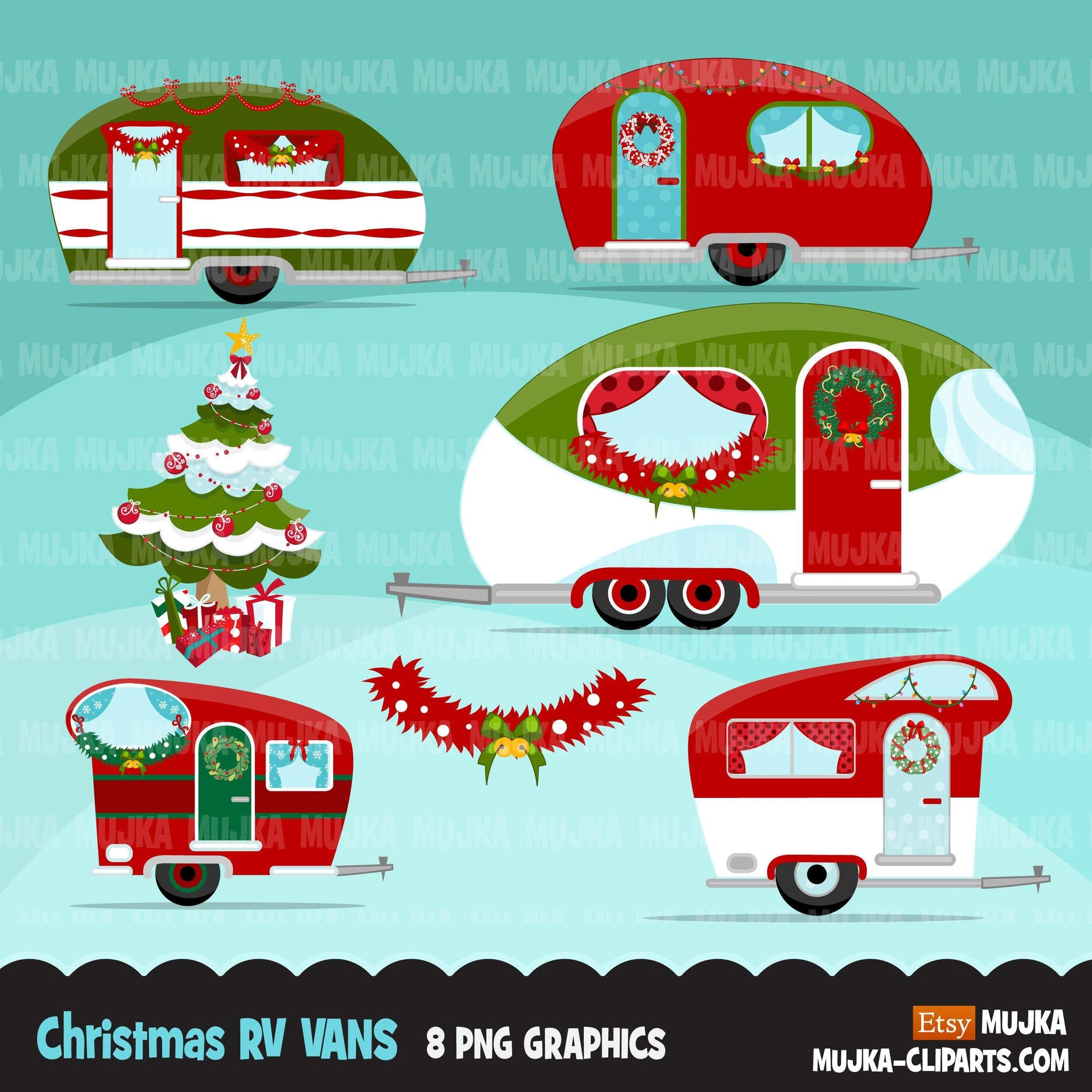 Christmas RV Vans clipart, decorated Noel camper van graphics