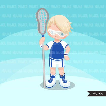 Lacrosse Clipart graphics, boys lacrosse player characters, stickers, commercial use, school activity clip art