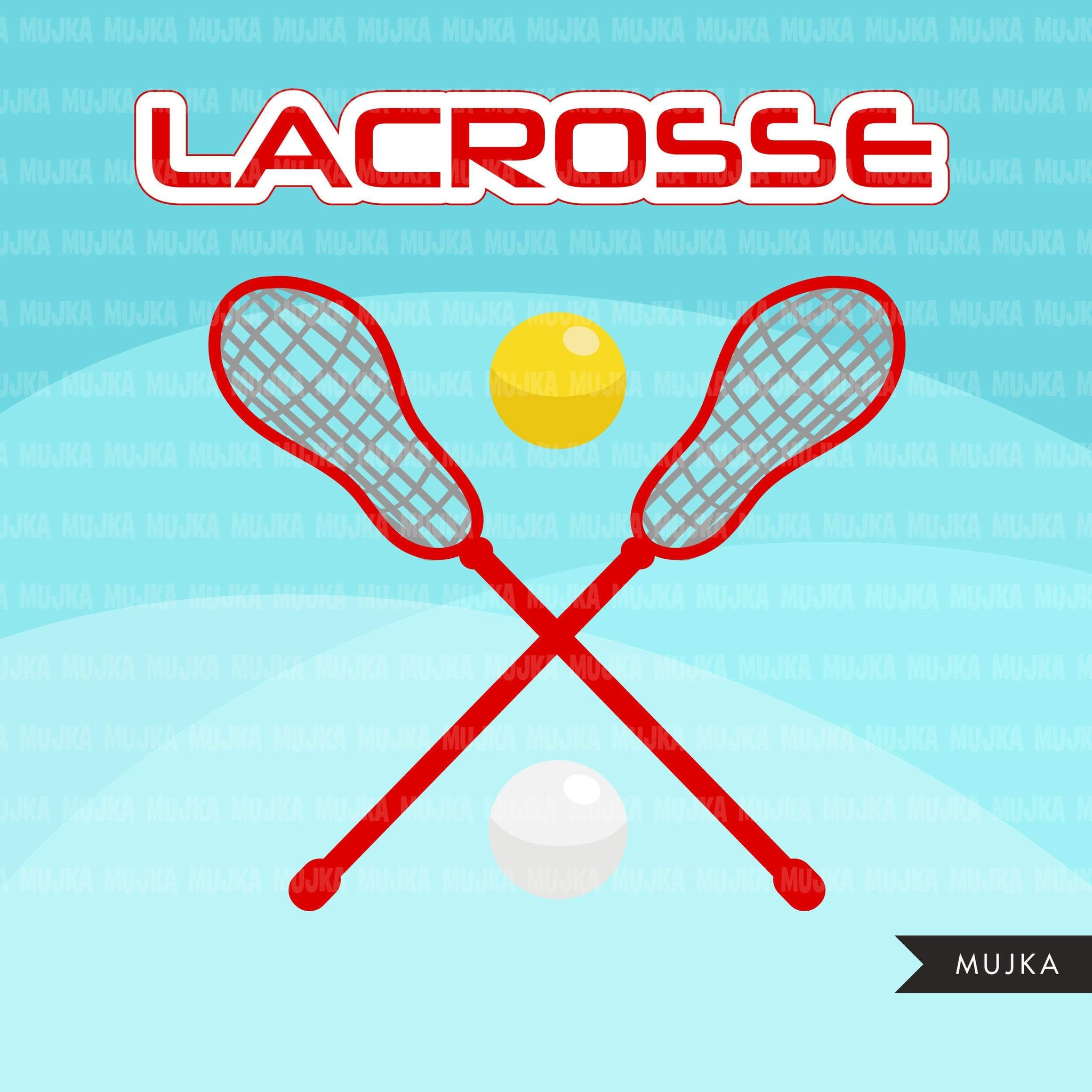 Lacrosse Clipart graphics, girls lacrosse player characters, stickers, commercial use, school activity clip art