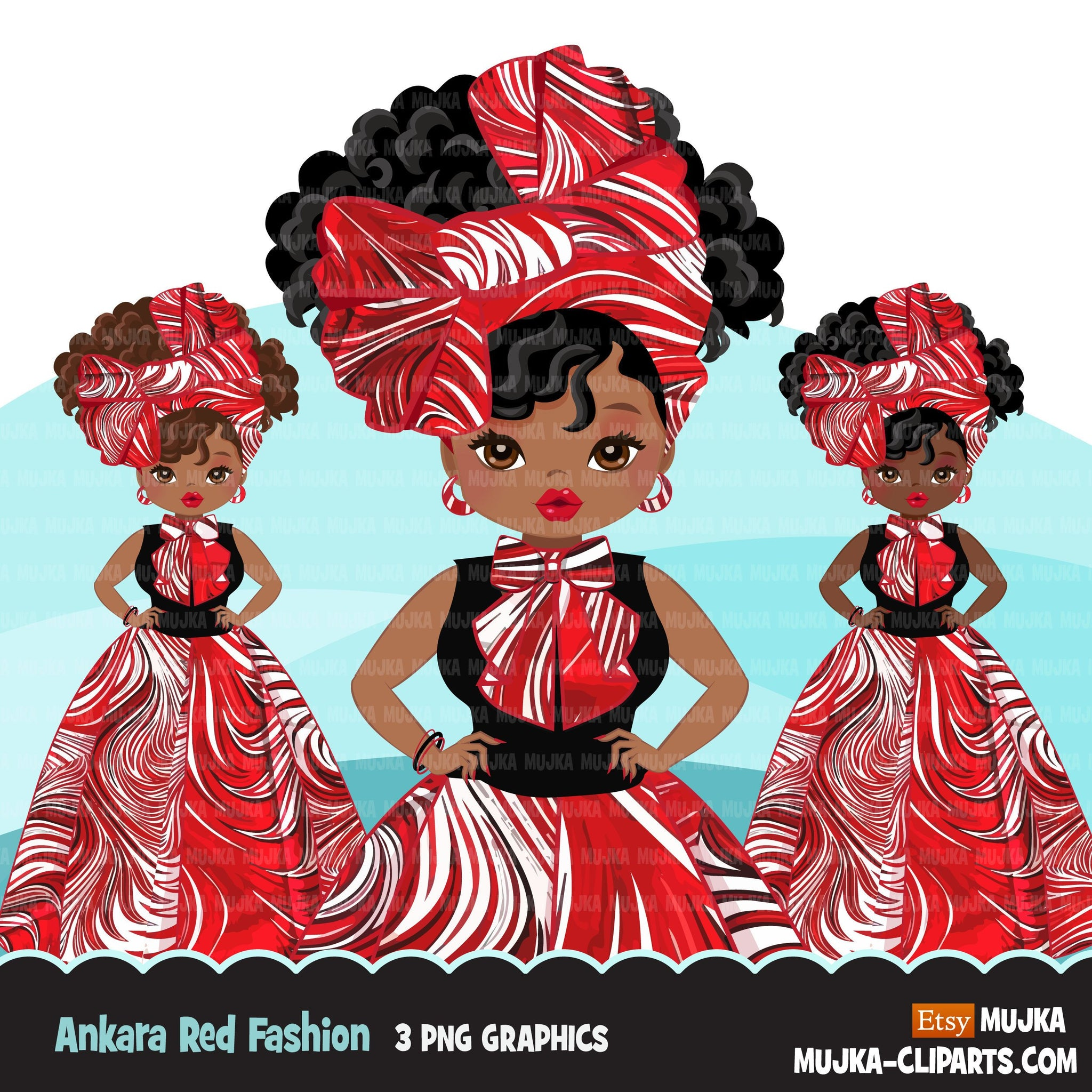 Black woman clipart avatar, Ankara Red white print bow tie ...