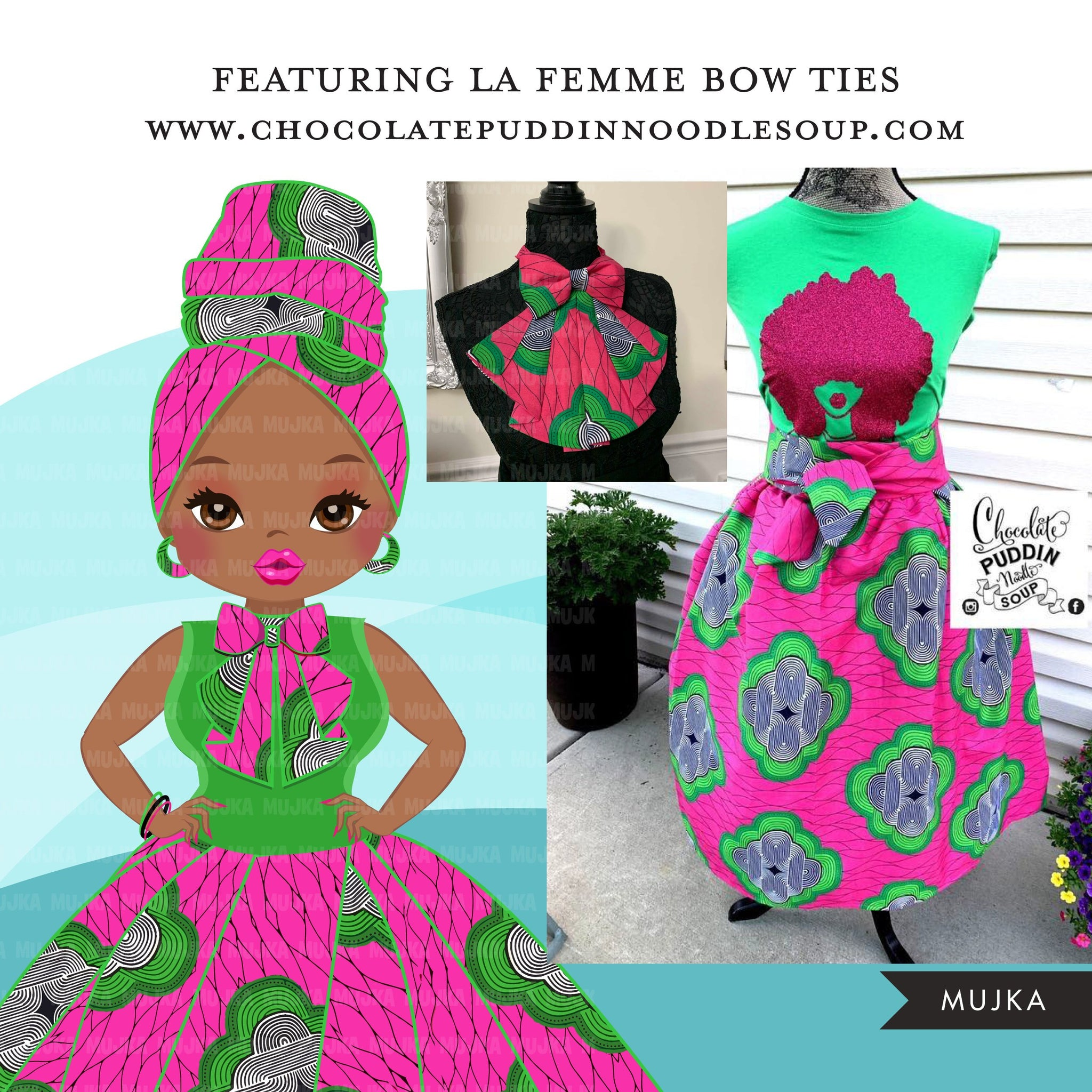 Black woman clipart avatar, Ankara Pink & Green print bow tie and skirt, fashion graphics sorority AKA boss afro girl clip art PNG head wrap
