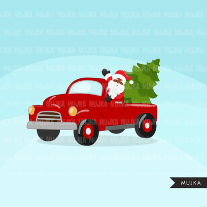 Christmas Trucks clipart, cute red barn trucks filled with Christmas trees, santa driving clip art