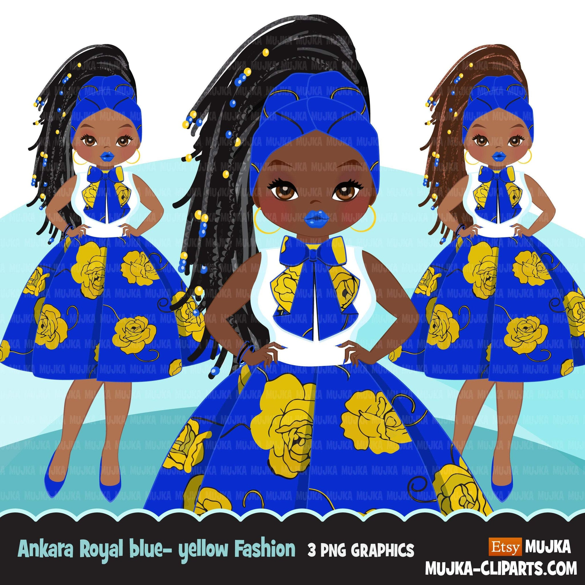Black woman clipart avatar, Ankara Royal Blue Yellow print bow tie and skirt, fashion graphics sorority SIGMA boss afro girl clip art PNG head wrap