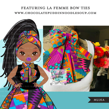 Black woman clipart avatar, Ankara kente multi-color print bow tie and skirt, fashion graphics head wrap braids girl clip art PNG