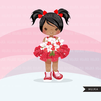 Valentine's Day flower girl clipart, red tutu pig tail girls with a flower bouquet graphics, commercial use valentine clip art