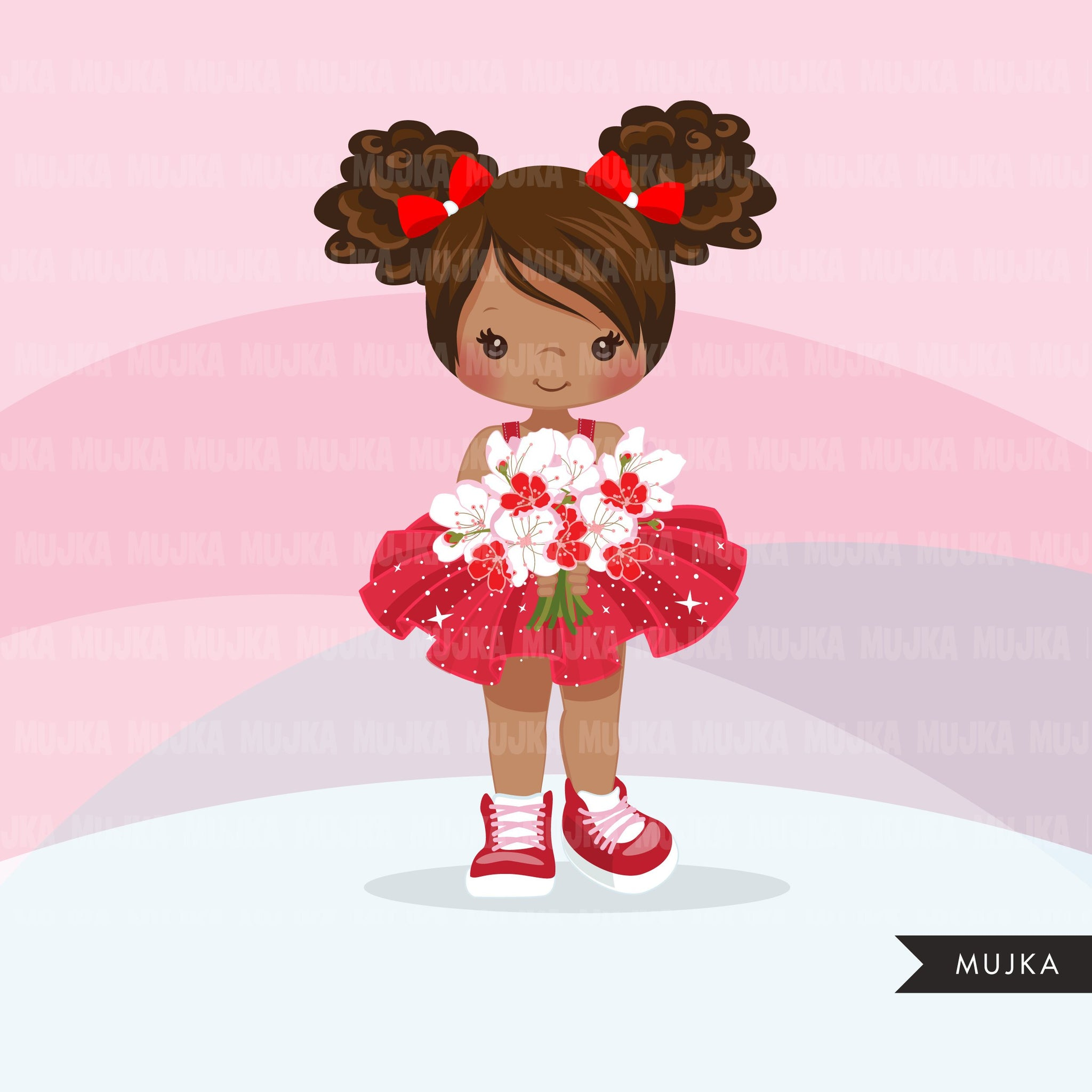 Valentine's Day flower black girl clipart, red tutu afro girls with a flower bouquet graphics, commercial use valentine clip art