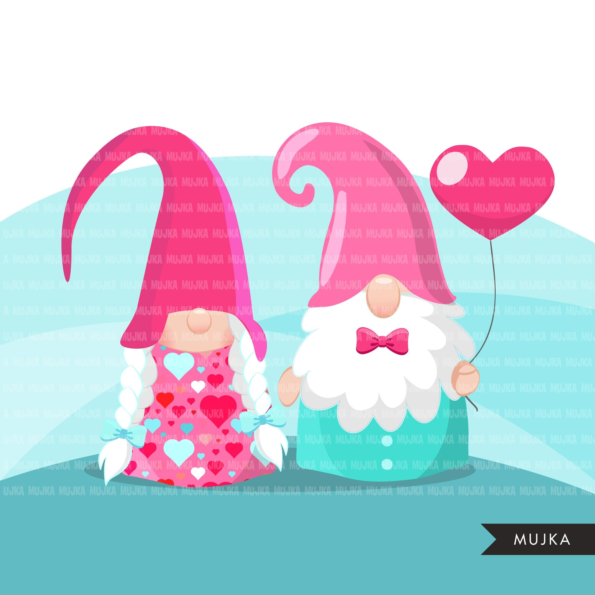 Valentine gnomes Clipart, Be my Valentine Gnome graphics, Valentine's Day characters, bouquet commercial use clip art