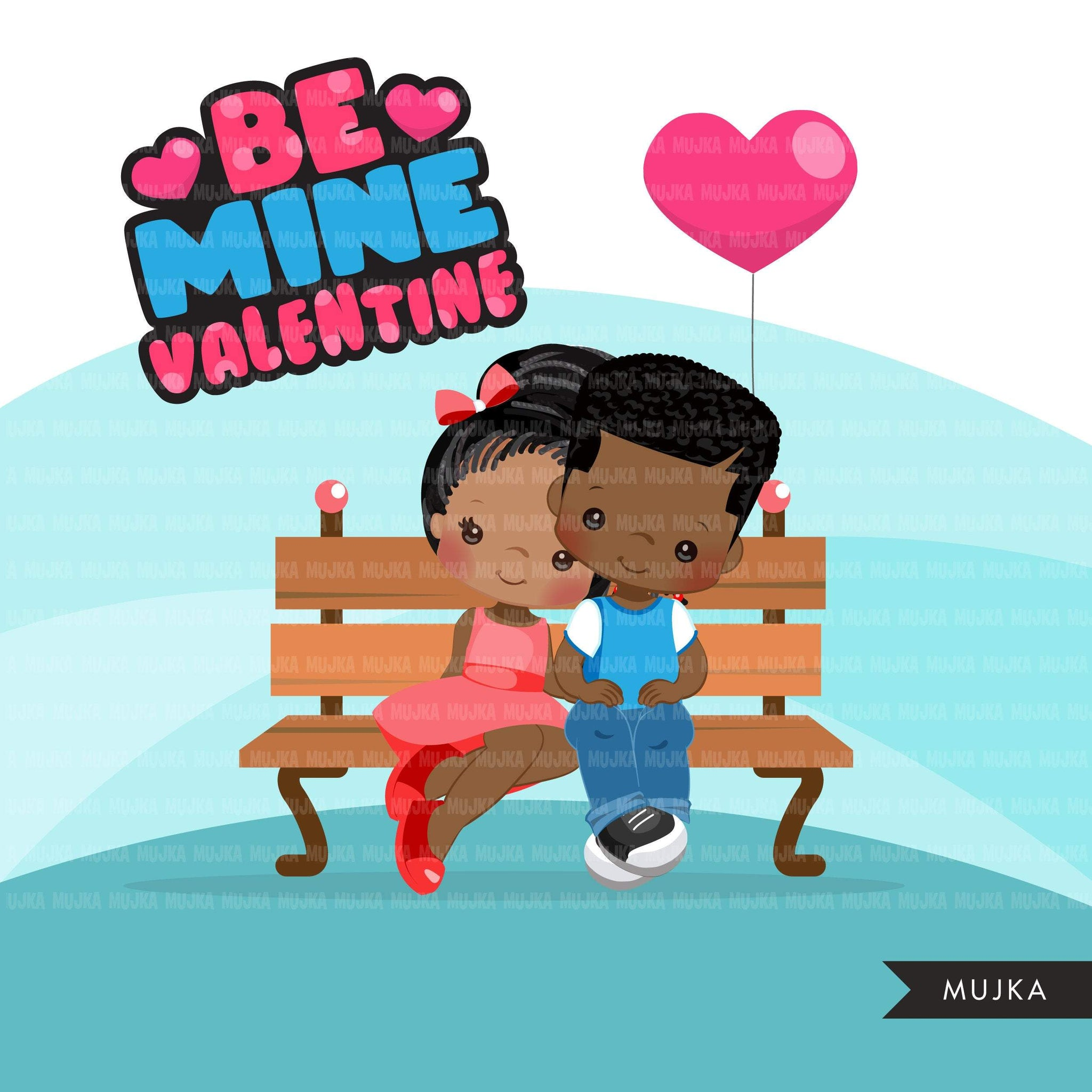 Valentine's Day Clipart, Cute Valentine black kids, couples sitting on a bench, be mine valentine graphics, commercial use clip art