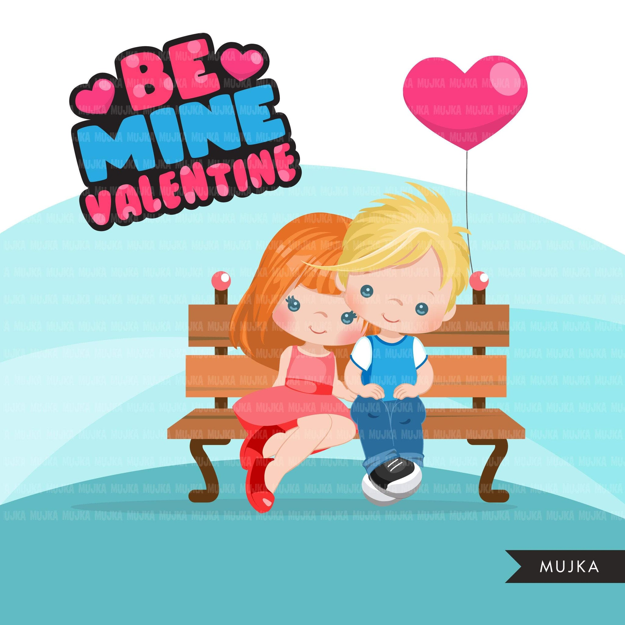 Valentine's Day Clipart, Cute Valentine kids, couples sitting on a bench, be mine valentine graphics, commercial use clip art