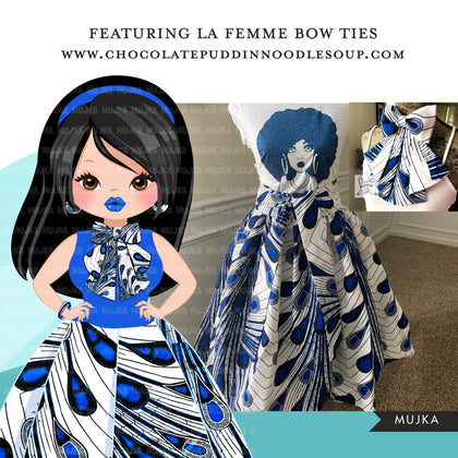 Woman clipart avatar, Ankara peacock print bow tie and skirt, fashion graphics fabric sorority zeta boss girl clip art PNG