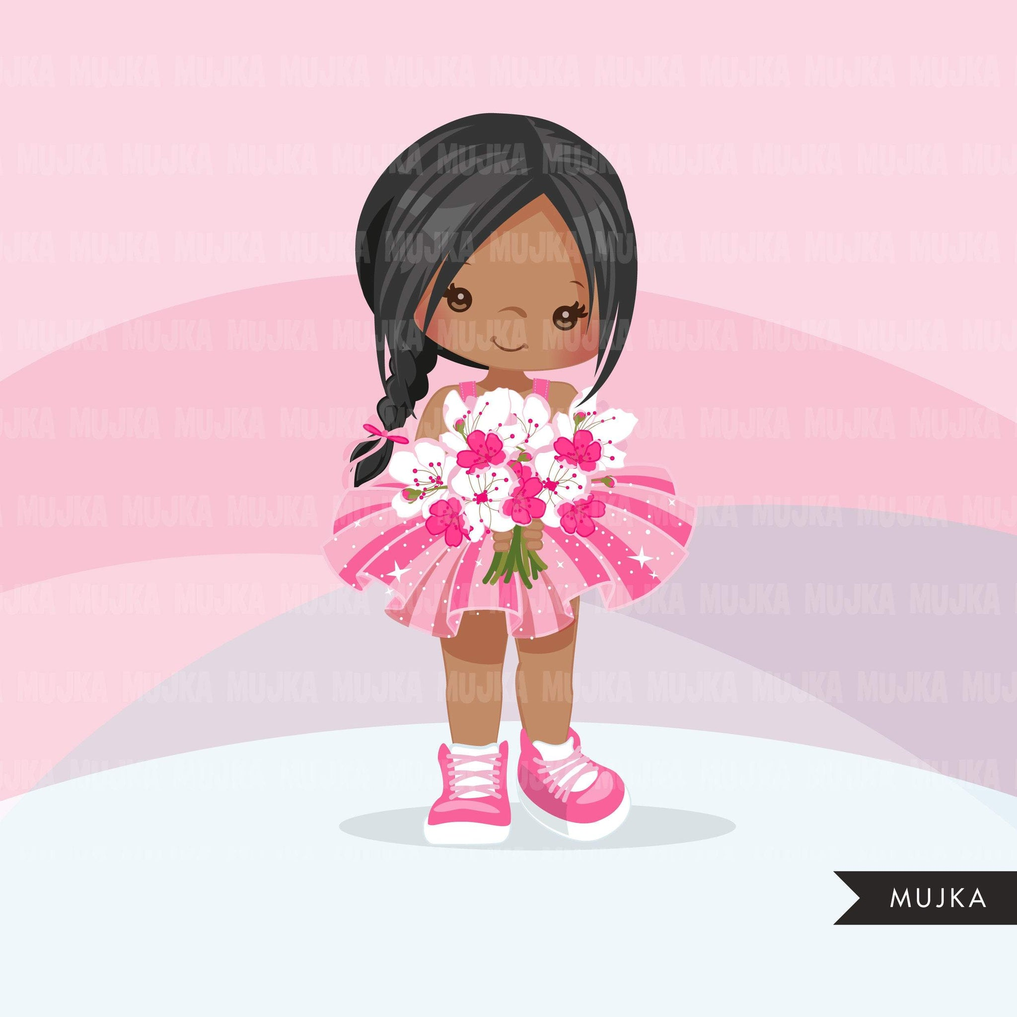 Valentine's Day flower girl clipart, pink tutu braid girls with a flower bouquet graphics, commercial use valentine clip art