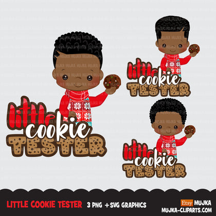 Christmas SVG PNG digital, Little cookie Tester HTV sublimation image transfer clipart, t-shirt Afro black boy graphics