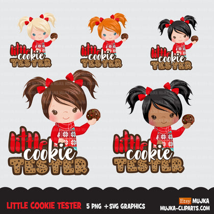 Christmas SVG PNG digital, Little cookie Tester HTV sublimation image transfer clipart, t-shirt girl graphics