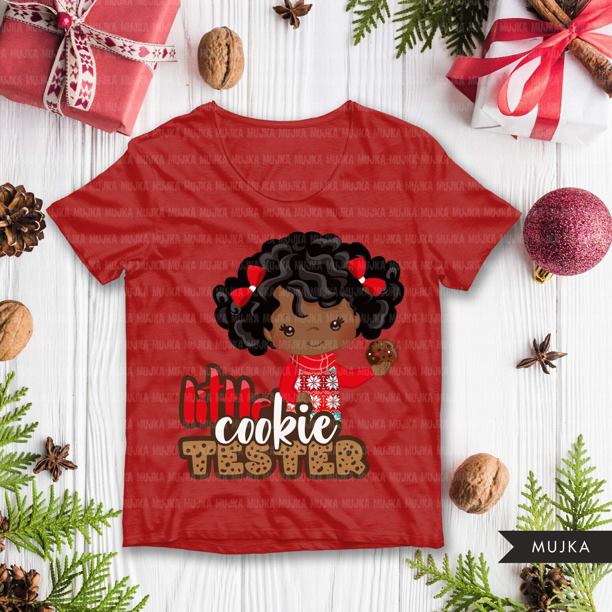 Christmas SVG PNG digital, Little cookie Tester HTV sublimation image transfer clipart, t-shirt black girl graphics