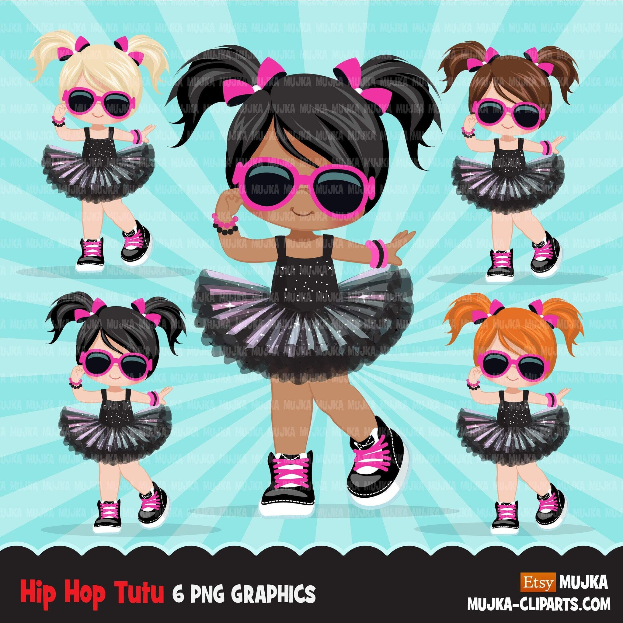 Hip hop dancer girls clipart, Black tutu break dance, rapping characters, planner stickers, dance clip art