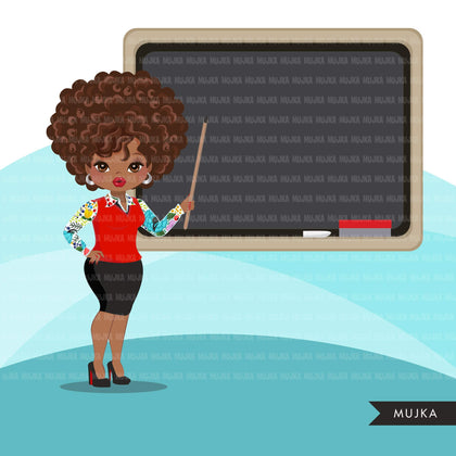 Black Teacher avatar clipart with blackboard, print and cut, education graphics, afro girl clip art, school teaching
