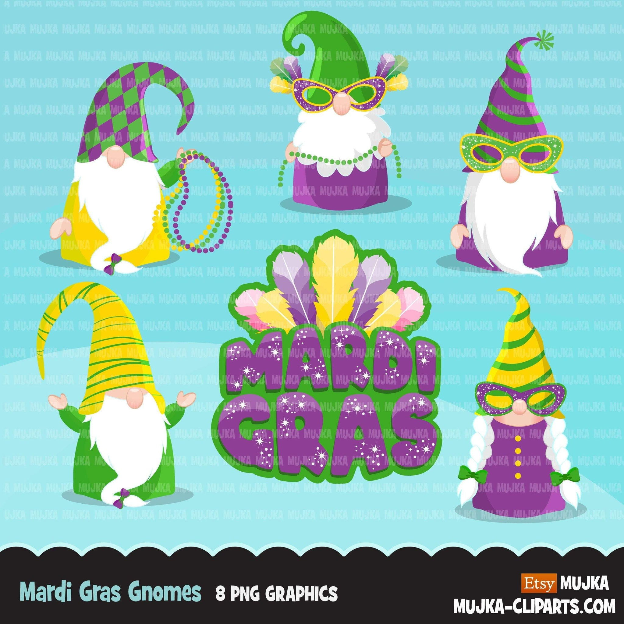 Mardi gras gnomes clipart, carnival clip art, masquerade party, New Orleans, masks, beads
