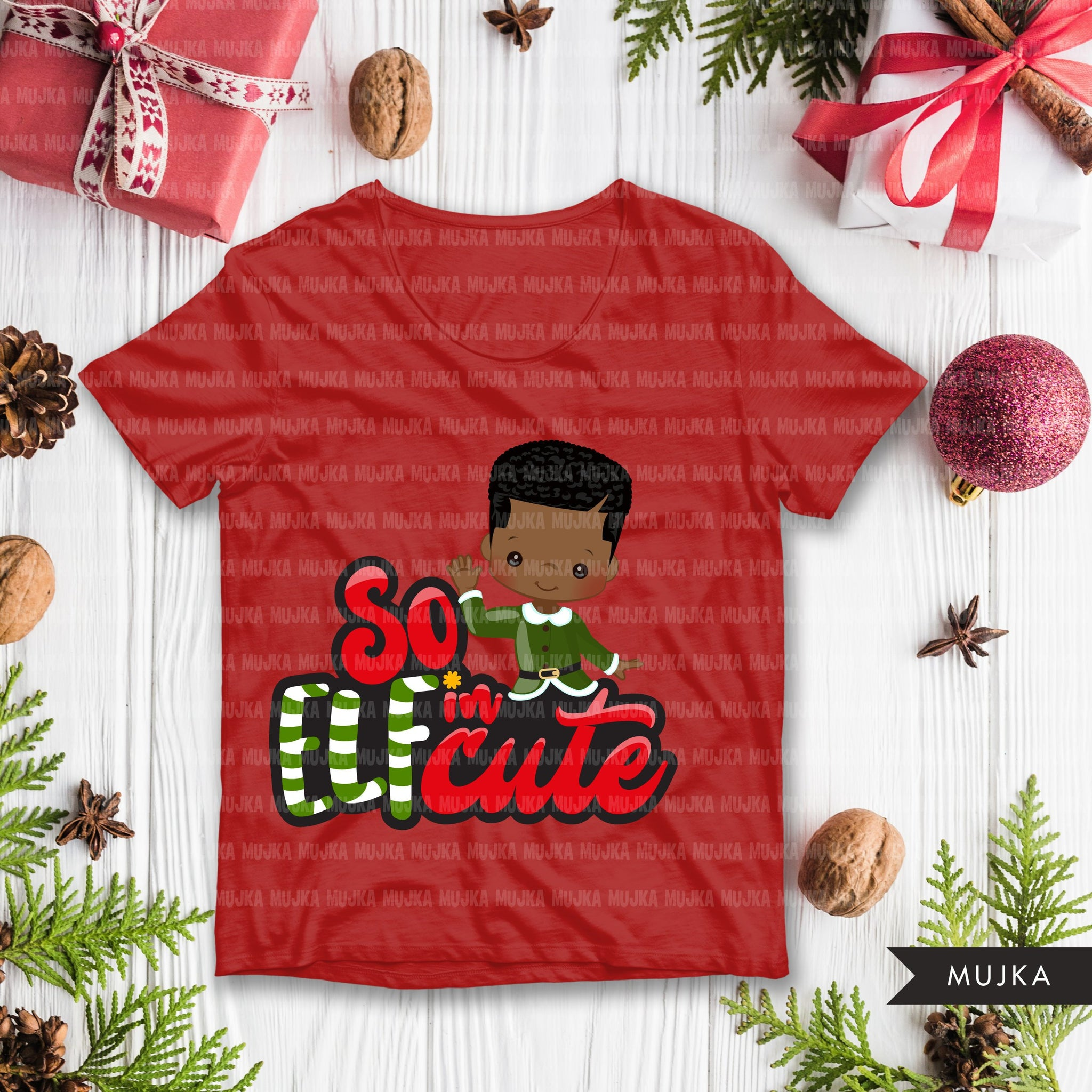 Christmas PNG digital, So Elfin Cute Printable HTV sublimation image transfer clipart, t-shirt Afro black boy graphics