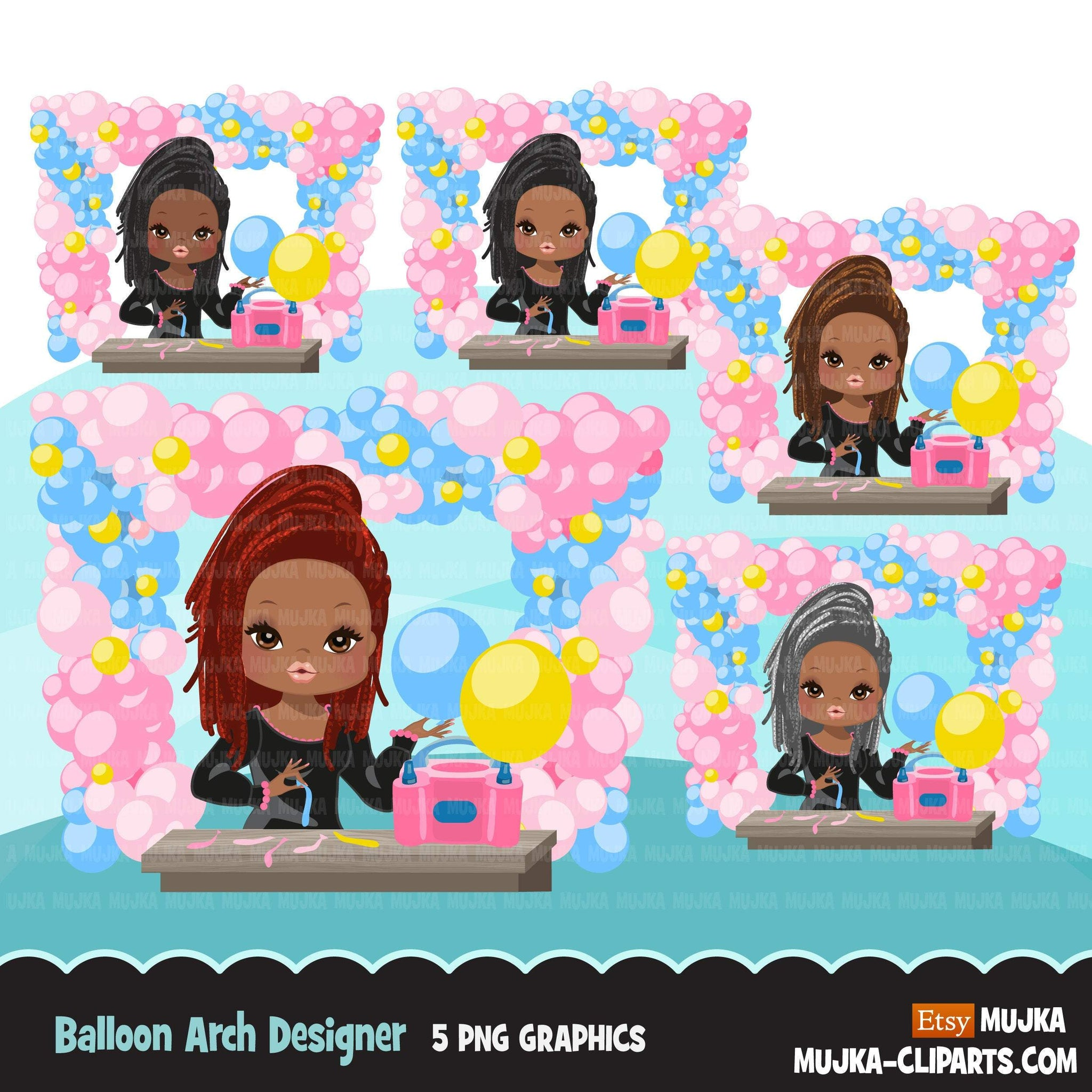 Black Balloon Arch Designer avatar clipart, print and cut, business boss girl clip art, party planner, event organizer