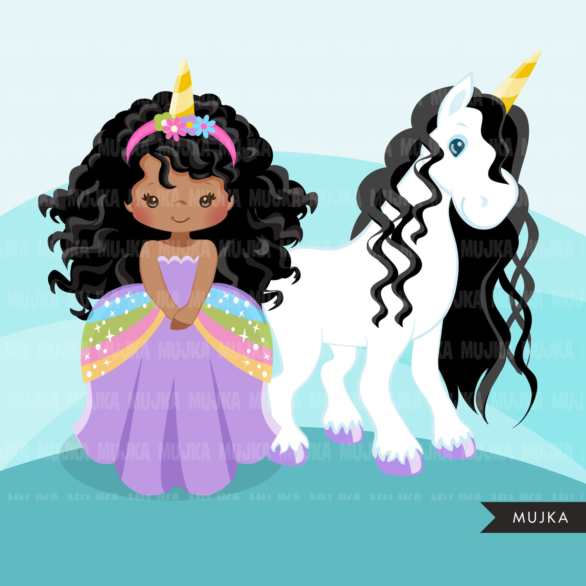 Unicorn clipart, black princess, unicorn gifts, rainbow girl, fairy tale graphics, commercial use clip art