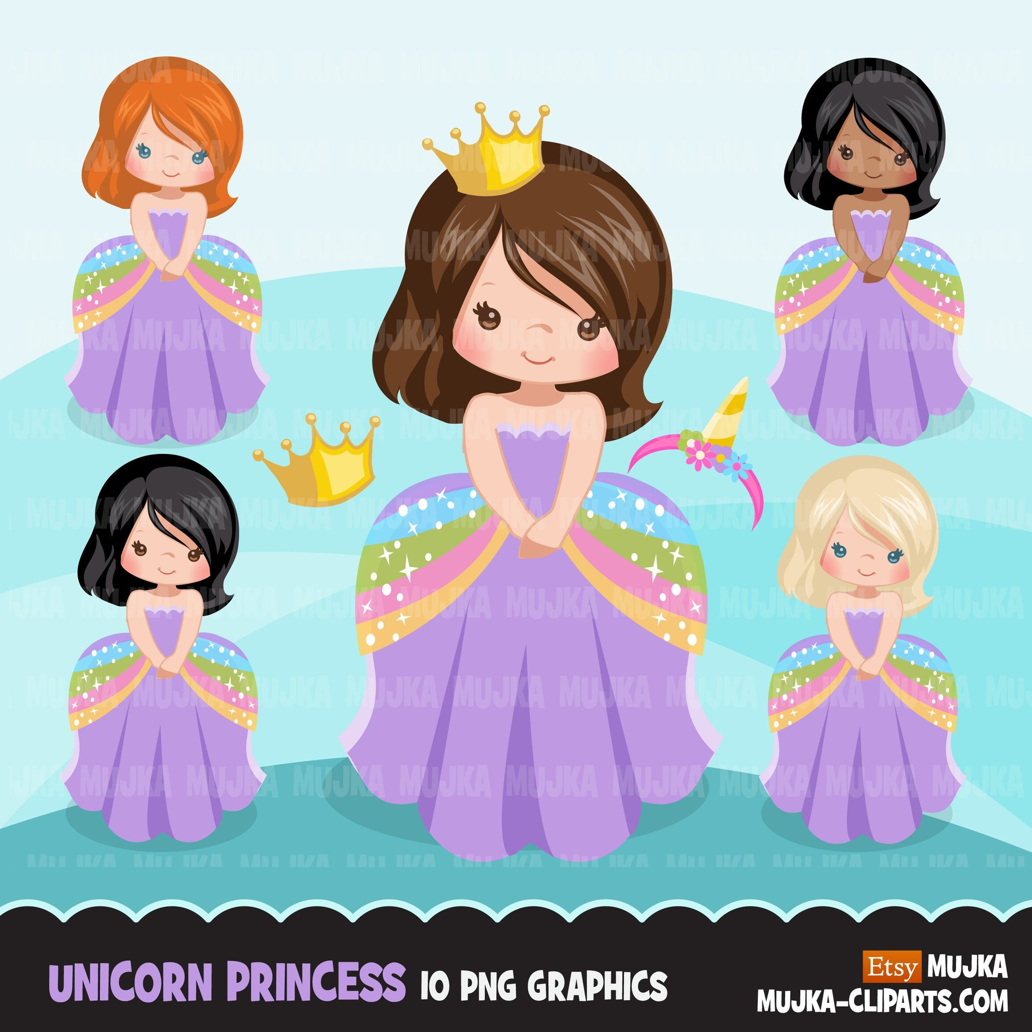 Unicorn clipart, princess, unicorn gifts, rainbow girl, fairy tale graphics, commercial use clip art
