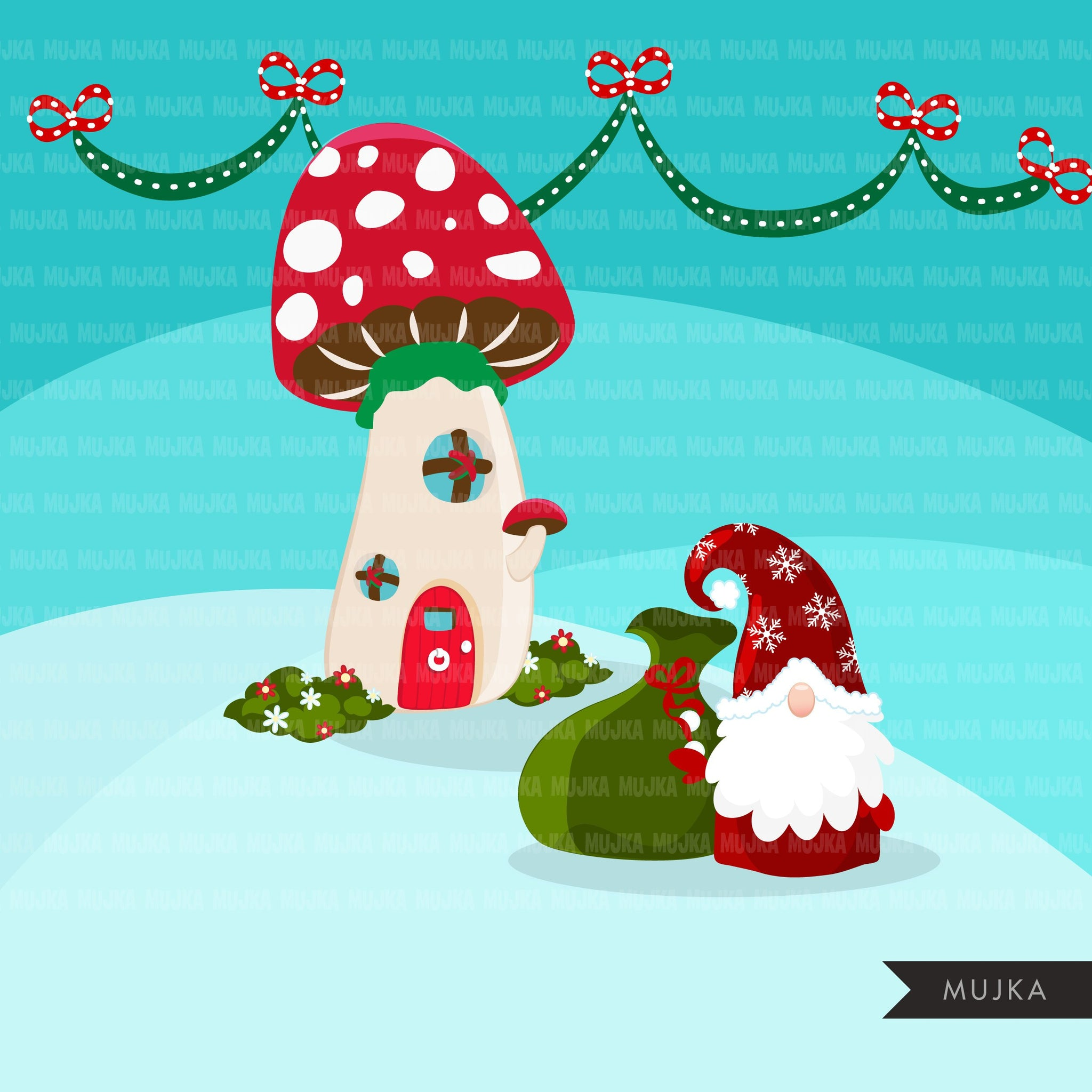 Christmas gnomes village Clipart, Mushroom homes Scandinavian Gnome graphics, illustration, Danish, Nordic Holiday, noel, cute characters