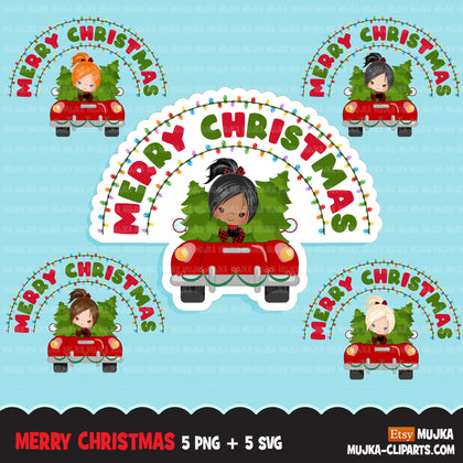 Christmas Svg Png digital, Merry Christmas Red Truck HTV sublimation image transfer clipart, t-shirt girl