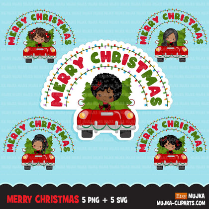 Christmas Svg Png digital, Merry Christmas Red Truck HTV sublimation image transfer clipart, t-shirt black girl