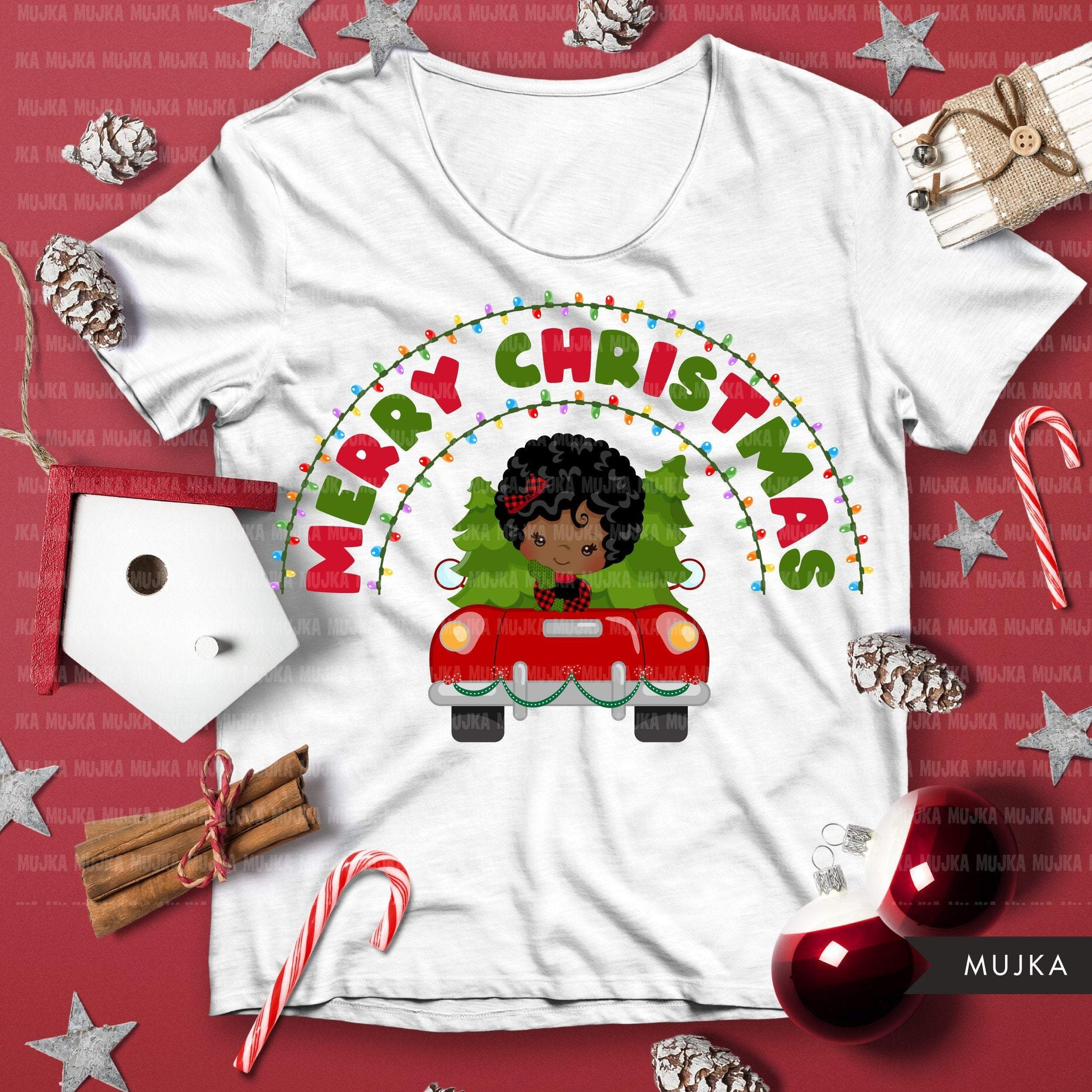 christmas png digital merry christmas red truck htv sublimation image transfer clipart t-shirt black girl