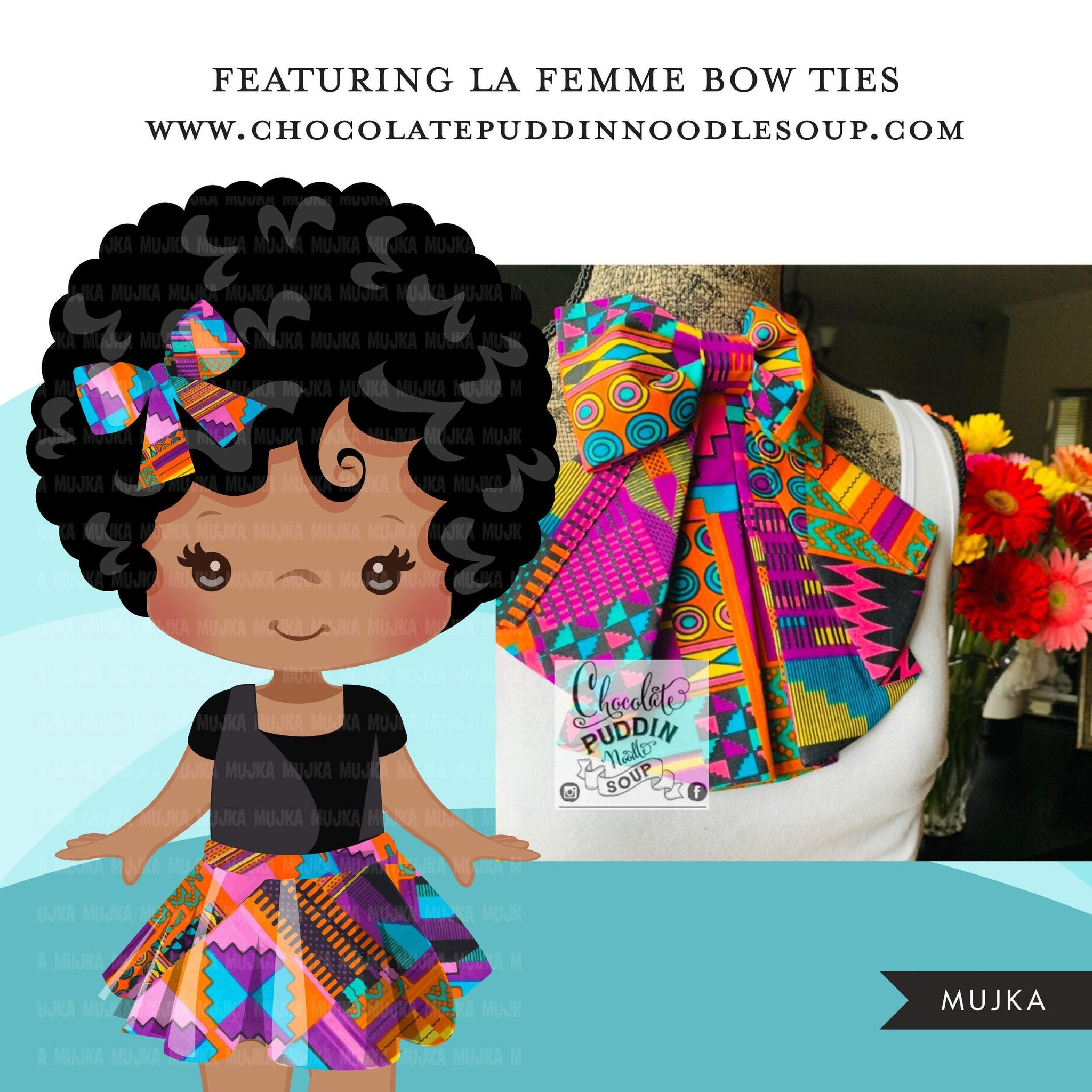 Black girl clipart avatar, Ankara kente multi-color print hair bow tie and skirt, fashion graphics black history afro girl clip art PNG