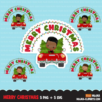 christmas png digital merry christmas red truck htv sublimation image transfer clipart t-shirt black boy