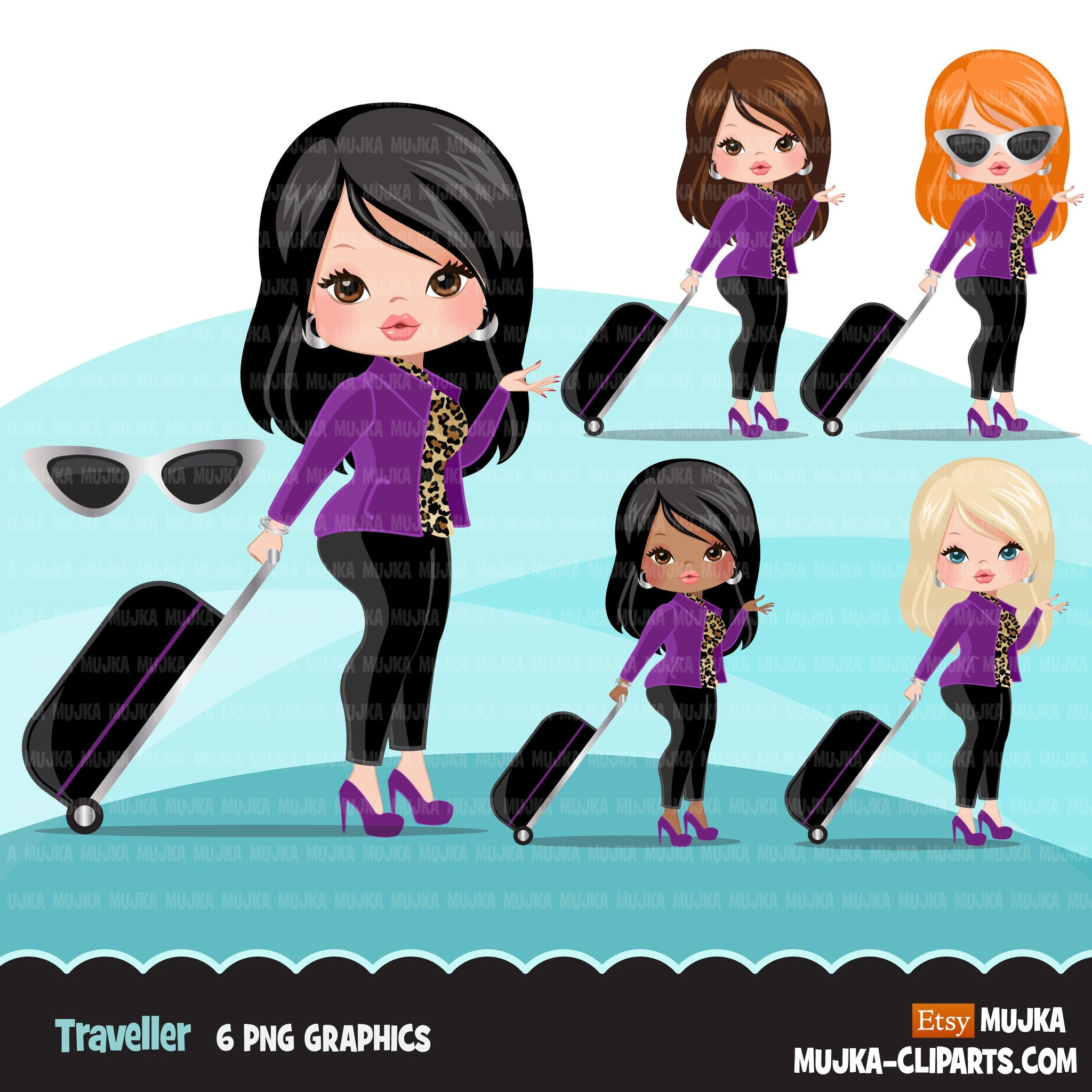 Travelling girl clipart avatar with suitcase, print and cut, shop logo boss girl clip art purple leopard skin graphics