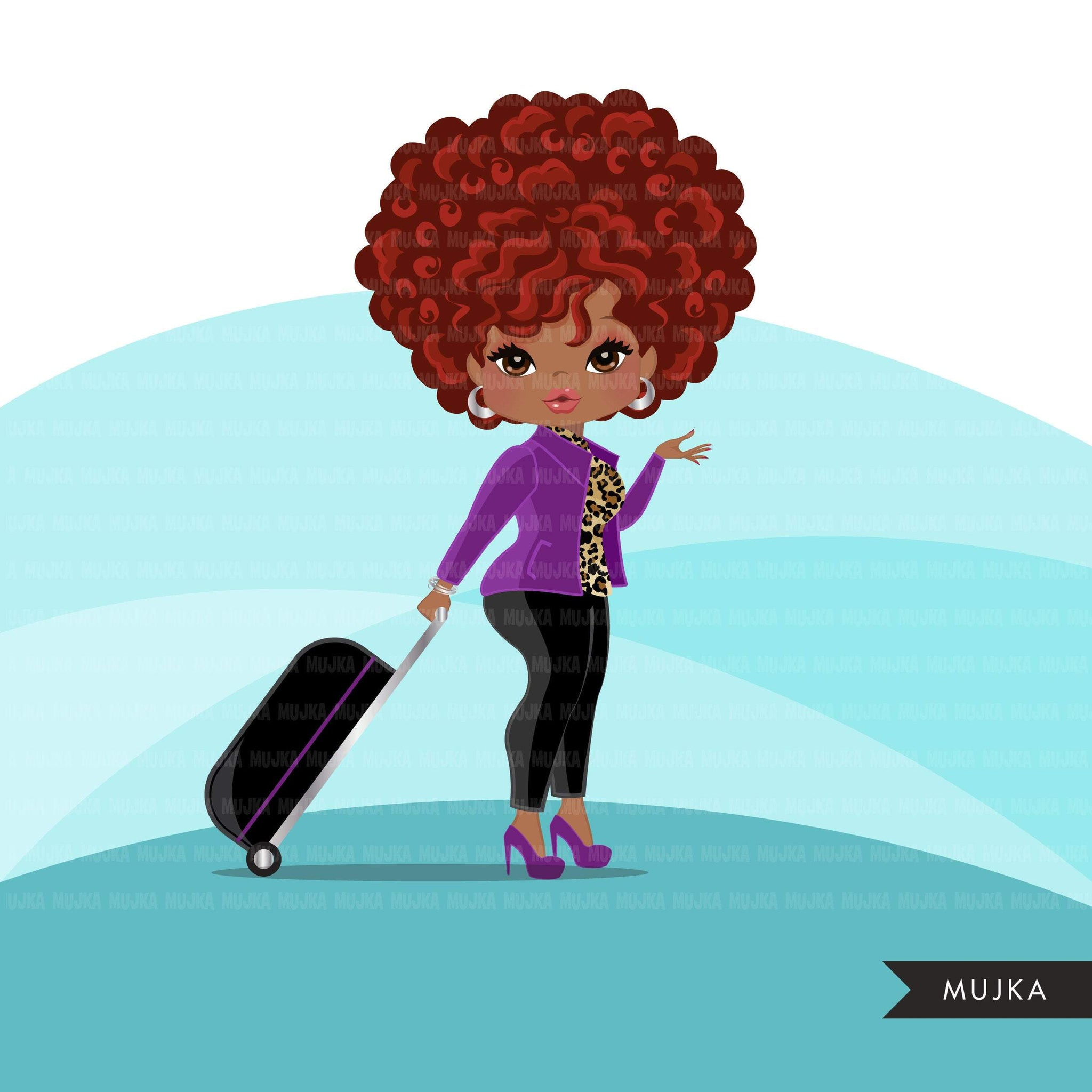 Travelling black woman clipart avatar with suitcase, print and cut, shop logo boss afro girl clip art purple leopard skin graphics