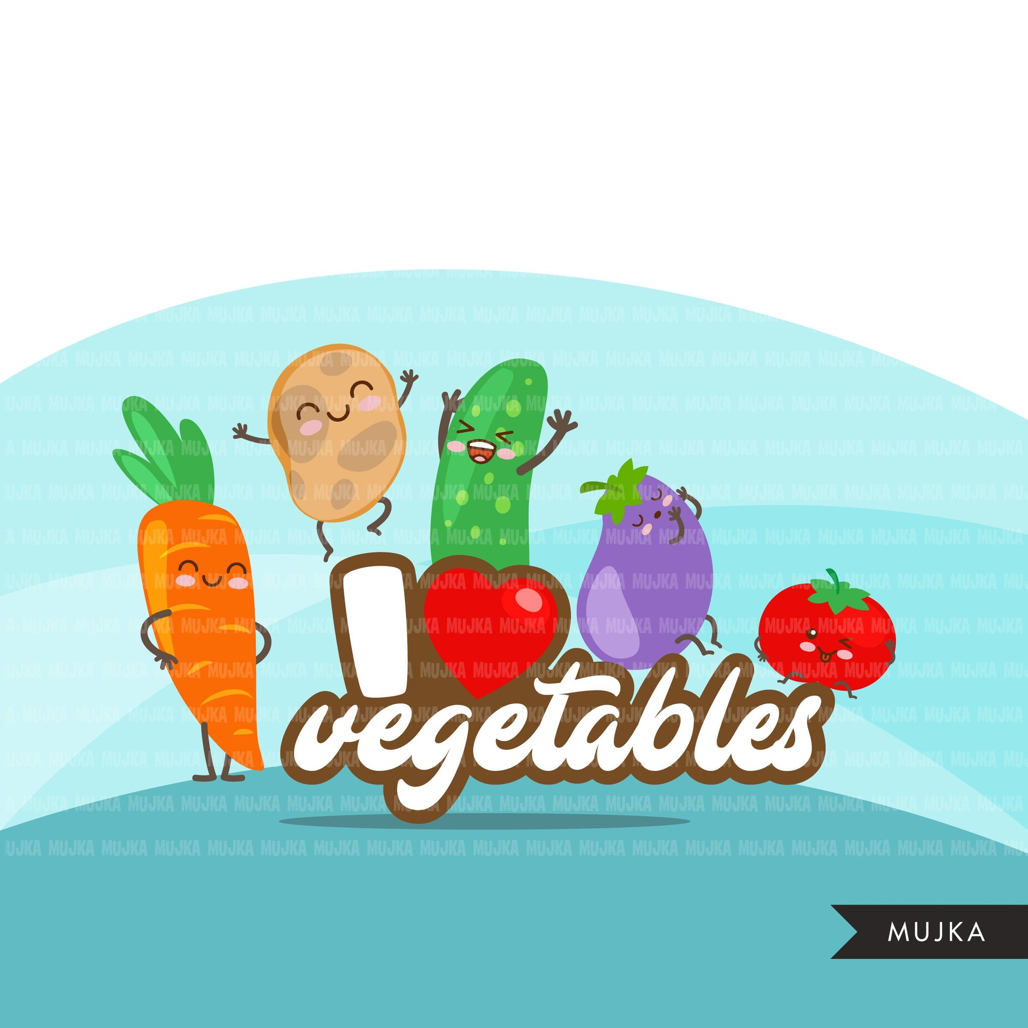 Vegetable clipart, cute kawaii veggie graphics, I love veggies, team veggie quotes, vegetarian PNG t-shirt clip art summer spring