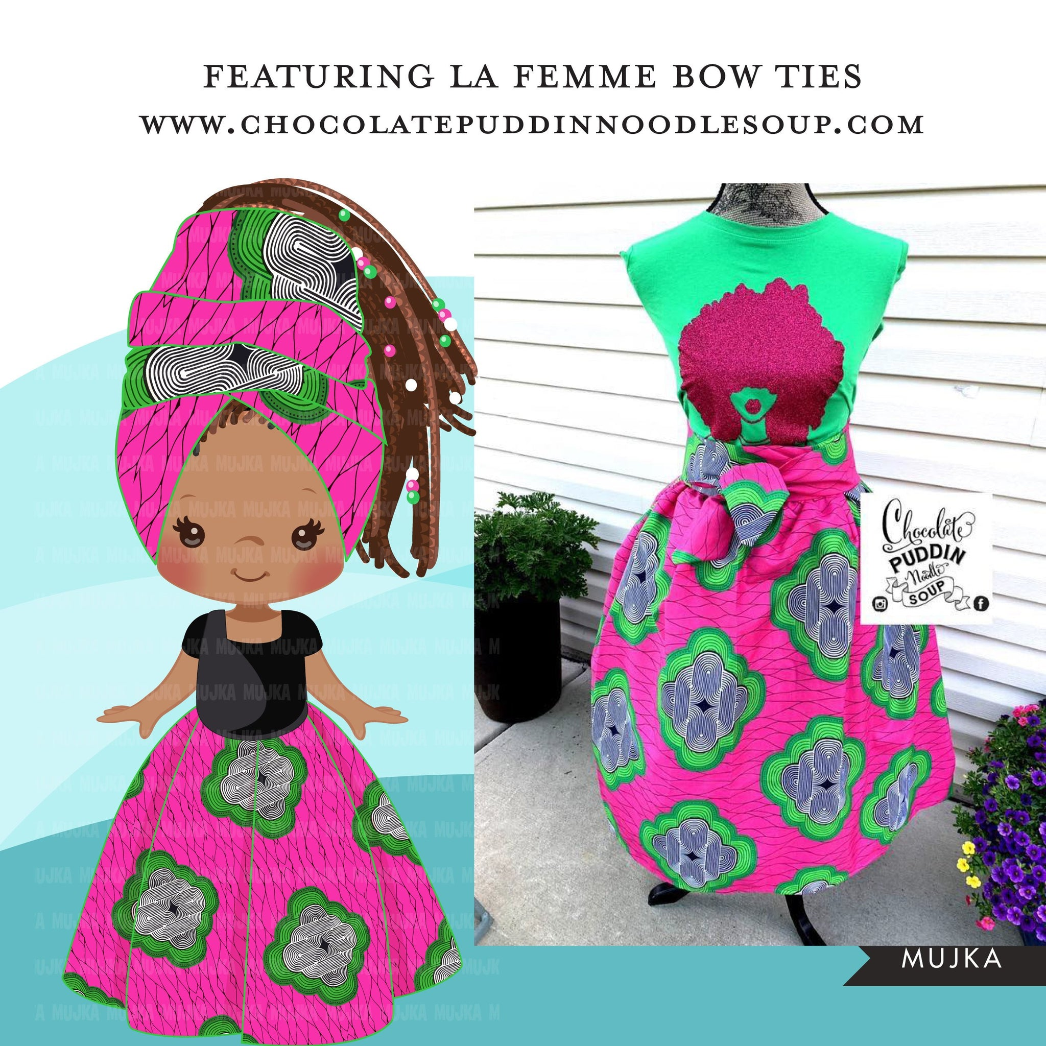 Black girl clipart avatar, Ankara pink and green print hair bow tie and skirt, african fabric, black history graphics afro girl clip art PNG