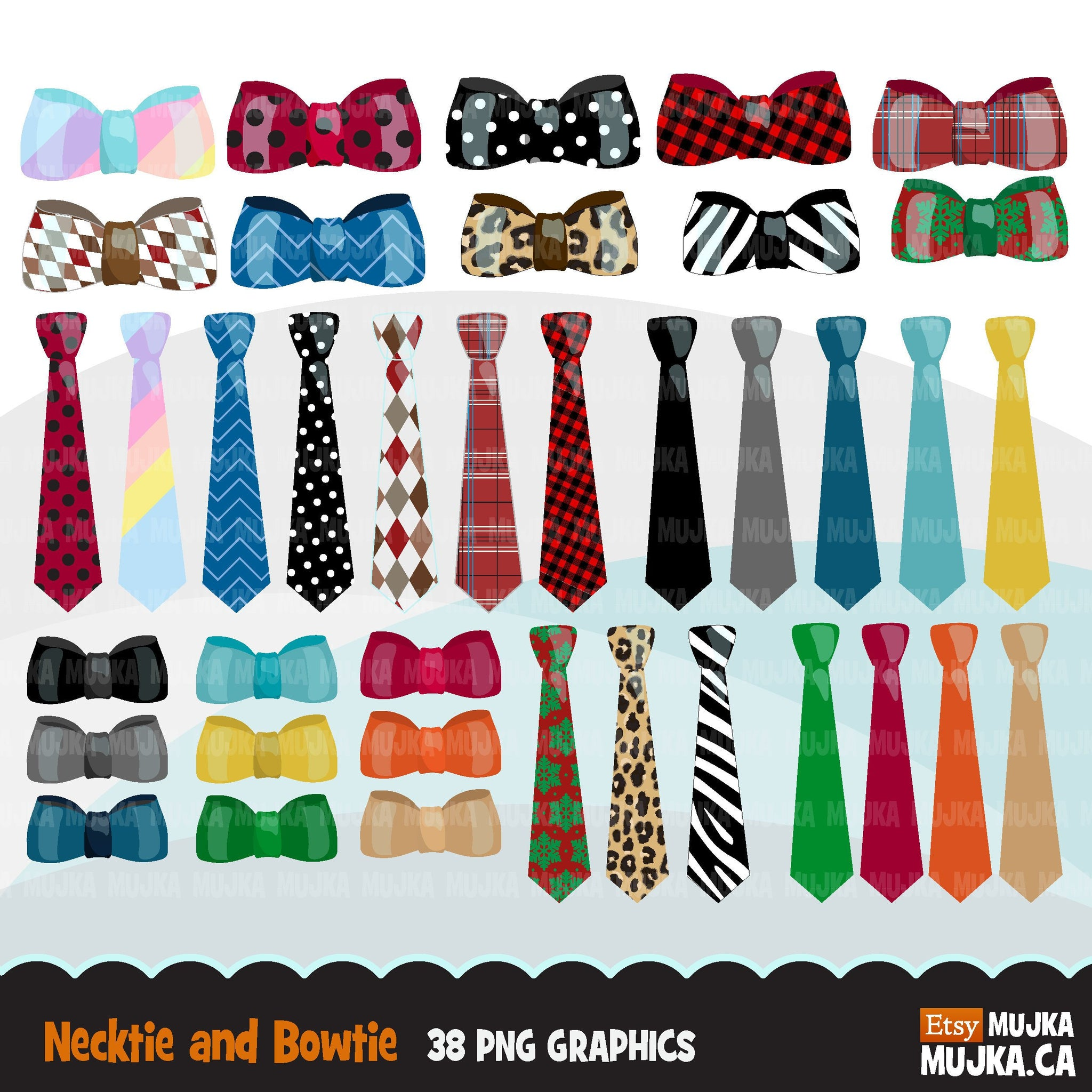 Bow tie and necktie clipart for boys outfits, father's day, baby shower graphics, commercial use clip art