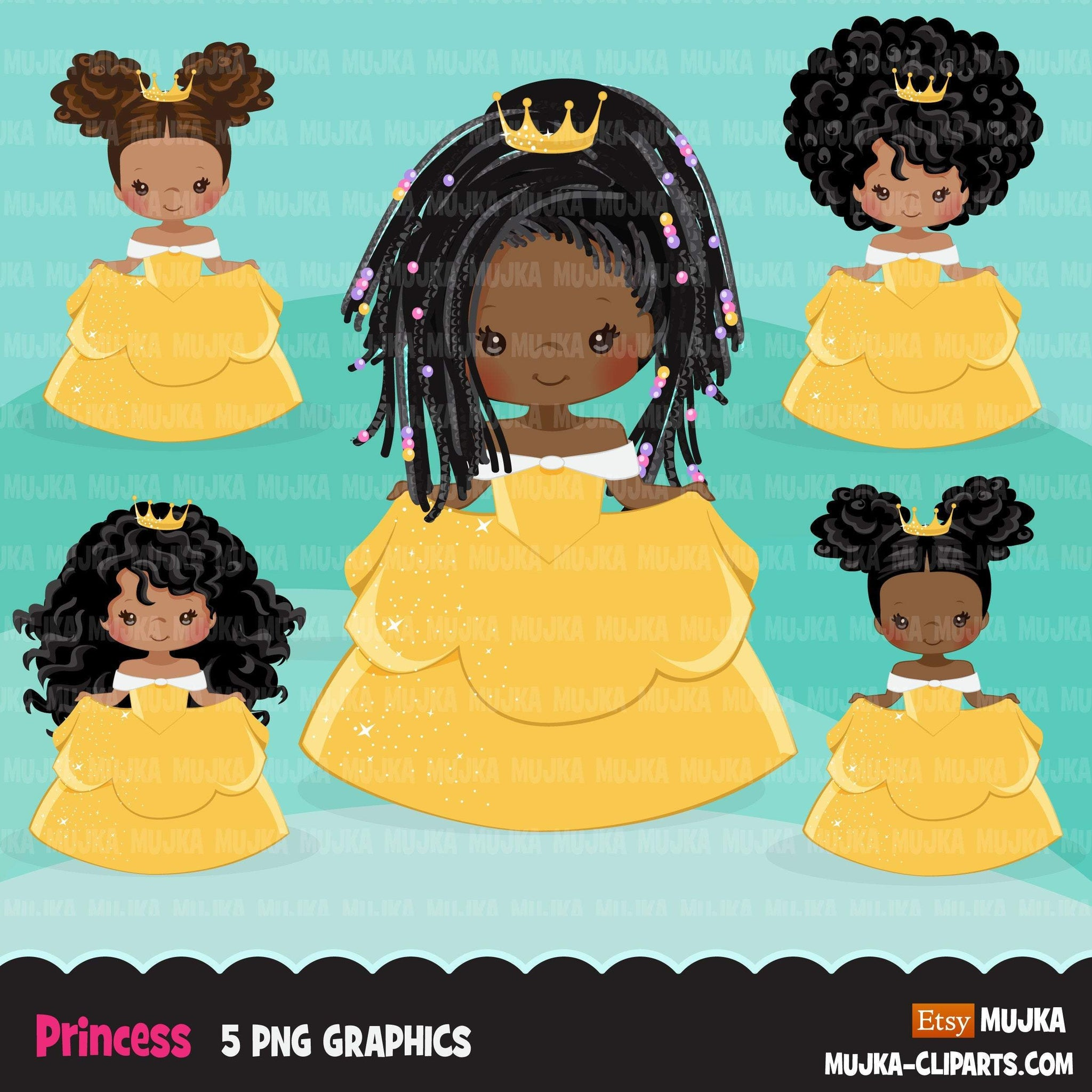 Black Princess clipart, fairy tale graphics, girls story book, yellow princess dress, commercial use clip art