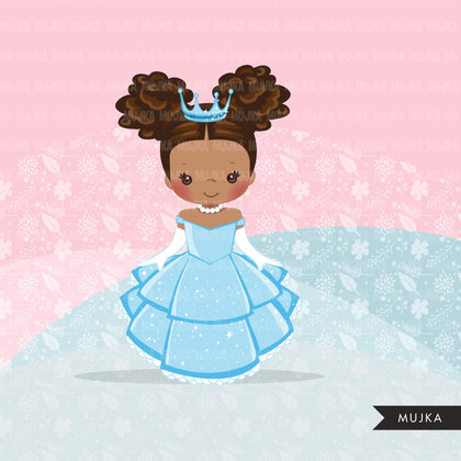 Black Princess clipart, fairy tale graphics, girls story book, blue princess dress, commercial use clip art