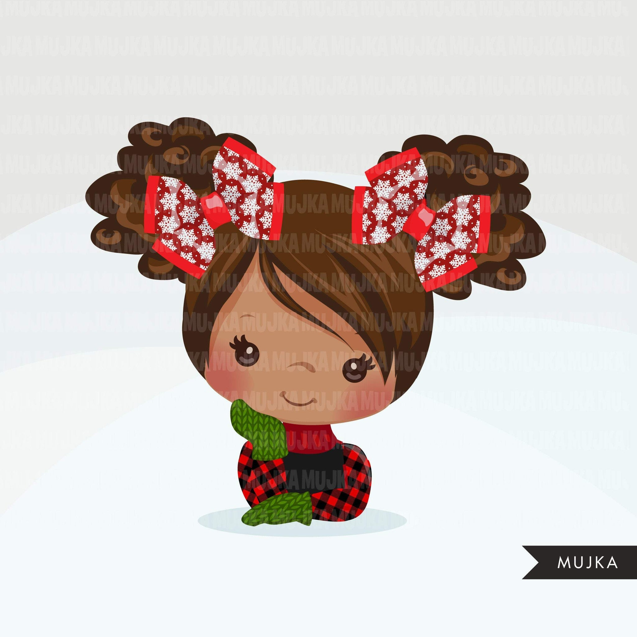 Christmas Hair bows and ribbons clipart, Hair tie, polka dots, plaid ribbon graphics, commercial use hair accessories, hair band