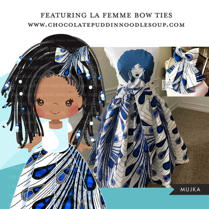 Black girl clipart avatar, Ankara peacock print bow tie skirt, african fabric, black history graphics afro girl clip art PNG