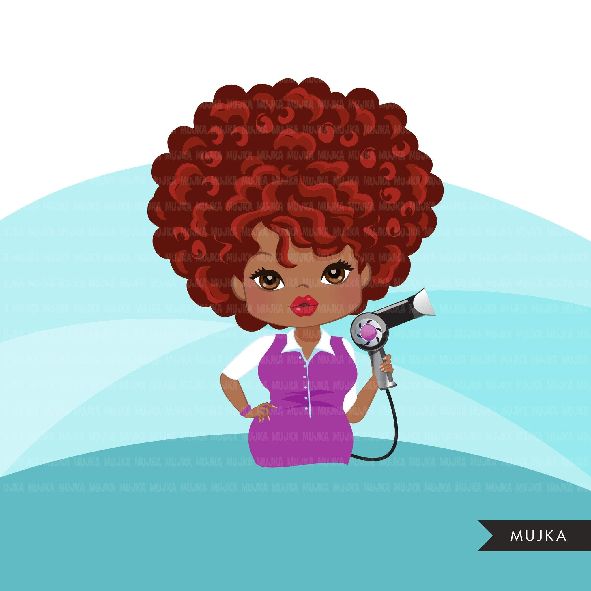 Hair stylist black woman clipart avatar with hairdryer, print and cut, shop logo boss afro hairdresser clip art graphics