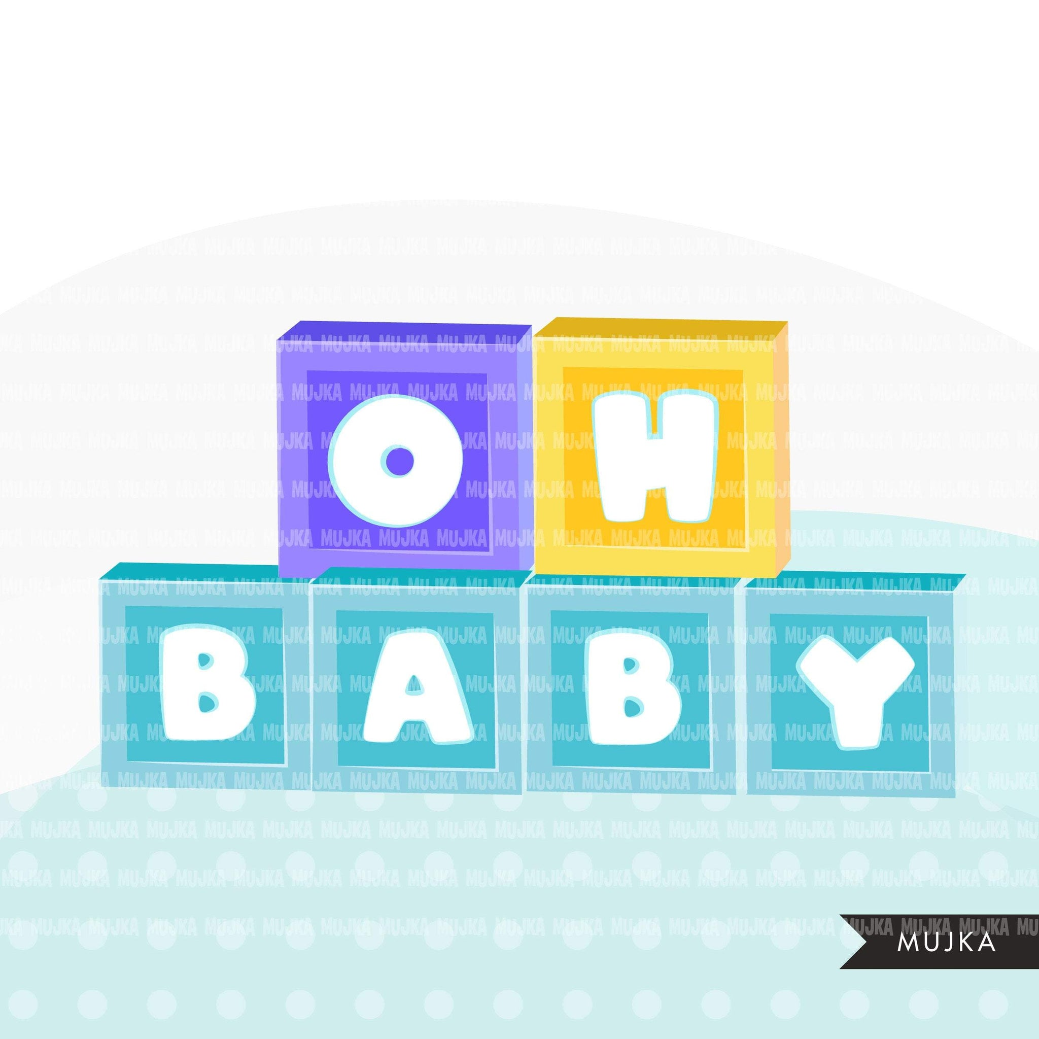 Baby blocks Alphabet Clipart, color, pink blue stackable letter blocks PNG graphics